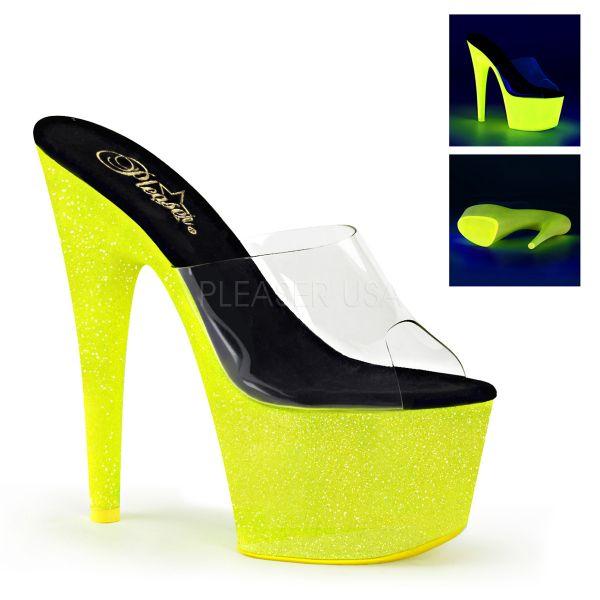 ADORE-701UVG     Durchsichtige Pantolette mit UV-Glitter Plateau in neon gelb